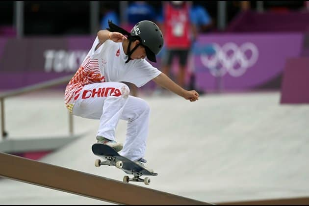 Zeng Wenhui participating in the Olympics 2021 skateboarding in China