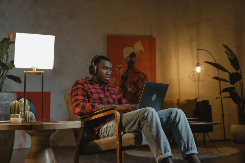 Employee working on his laptop