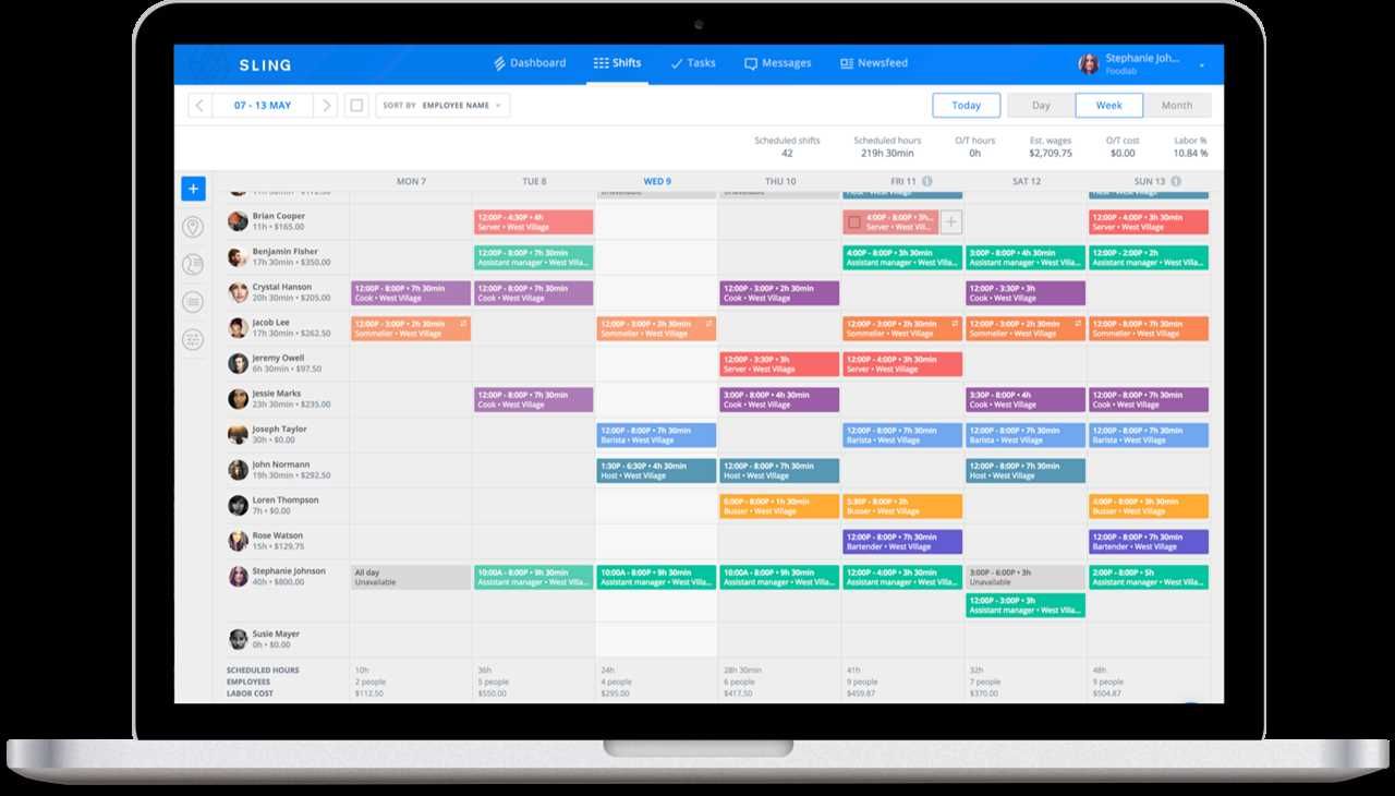 Sling scheduling feature