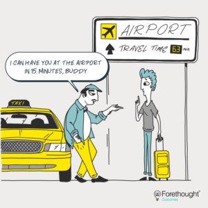 Comic of taxi driver talking to a customer